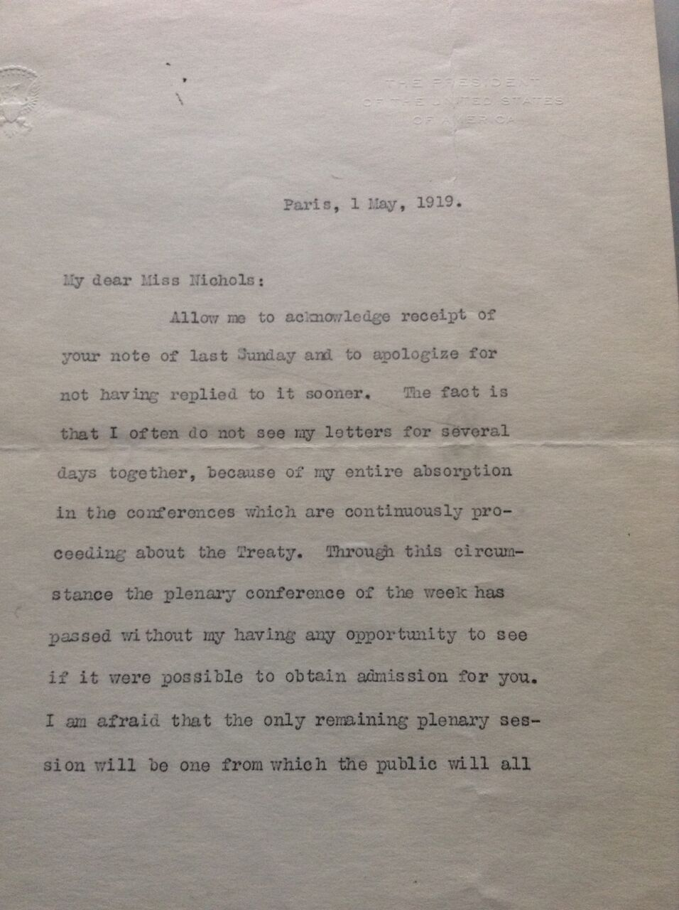 Letter from President Wilson to Rose Nichols