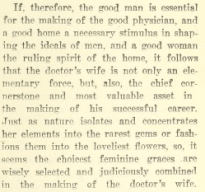 """Caption from """"The Doctor's Wife,"""" a speech given by H.J. Bell, MD in 1907."""