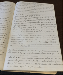 In the late 1800s, the MSPCA secretary kept a daily log. Researchers can use these logs to find mentions of Emily Warren Appleton, various donors, or typical days at the organization.