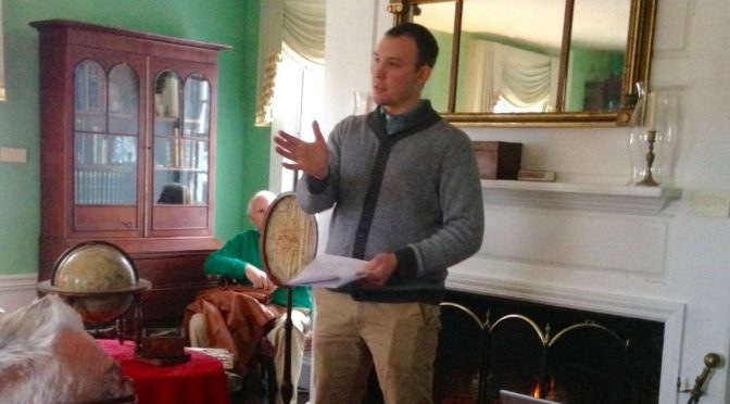 Jonathan Green delivers a talk on the compass and navigation in Milton's history for the January 2016 Fireside Chat.