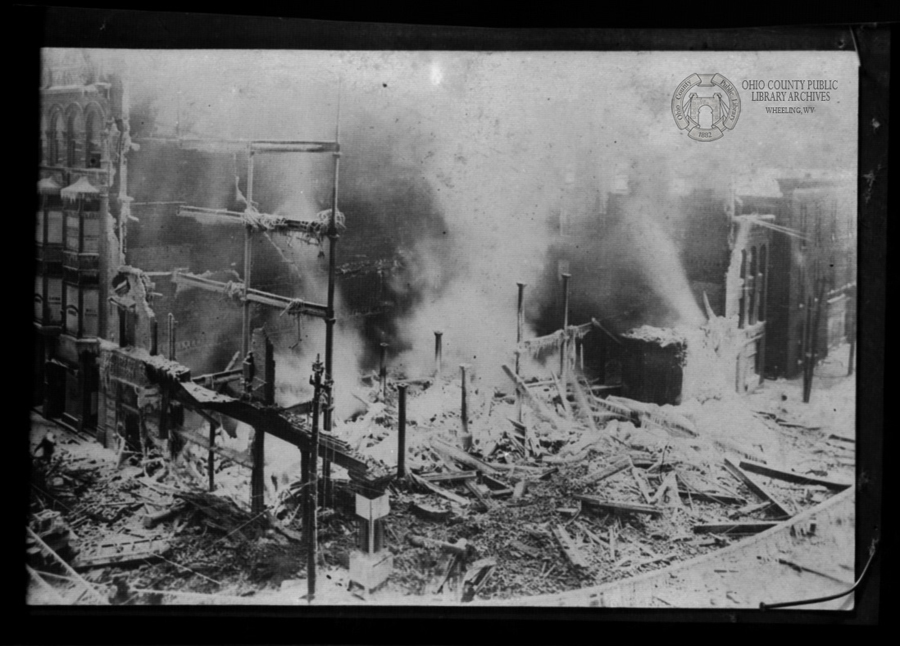 This image from the Joseph Hoffmann Negatives Collection, Ohio County Public Library Archives, shows the devastation of the fire. Despite the intense heat, the water applied by firemen still froze into the icicles visible in this photograph.