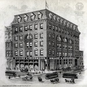 An early depiction of the House & Herrmann Department Store.