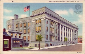 Postcard of Wheeling High School. OCPL Archives, Postcard Collection.