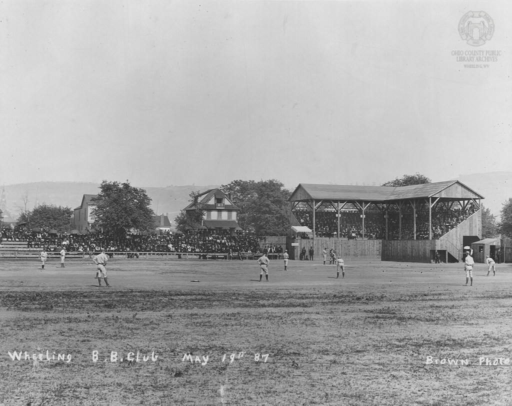 The Wheeling Nailers playing Kalamazoo on Wheeling Island, May 19, 1887. Brown Collection, OCPL Archives.