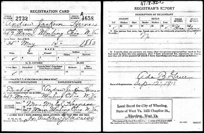 Dr. Andrew J. Harness WWI Draft Registration Card, 1918