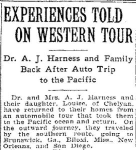 Touring the west was wildly popular in the late twenties, and Dr. Harness did just that with his family following the death of his eldest daughter, Myrtle. This clipping is from The Charleston Gazette's June 13, 1929 edition.