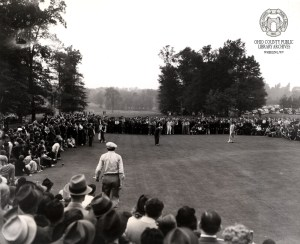 In this photo, taken just ten days after his victory at Cedar Rocks, Sam Snead sinks a putt on the 18th green at Fenway Country Club, to win the Westchester 108-Hole Open at White Plains, NY. The win netted him a $5000 purse.