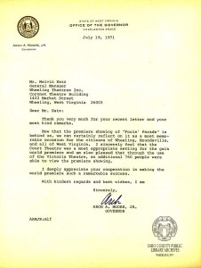 Letter from Arch A. Moore, Jr. to Melvin Katz, July 19, 1971. The Fools' Parade Collection, OCPL Archives.