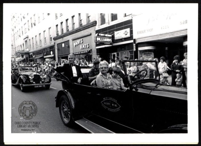 Jimmy Stewart riding in the 1924 Dodge Touring, The Fools' Parade premiere night, June 17, 1971. Images taken by Thomas Burns, The Fools' Parade collection, OCPL Archives.