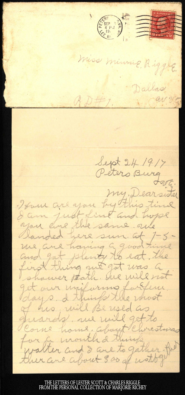 From Camp Lee to the Great War - Letter 1, September 24, 1917 - Lester Scott