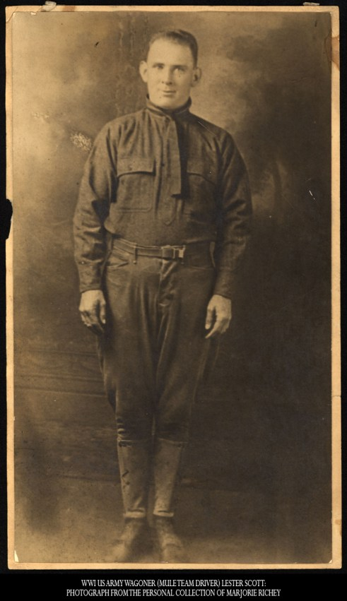WWI US Army Wagoner (mule team driver) Lester Scott: Photograph From the Personal Collection of Marjorie Richey
