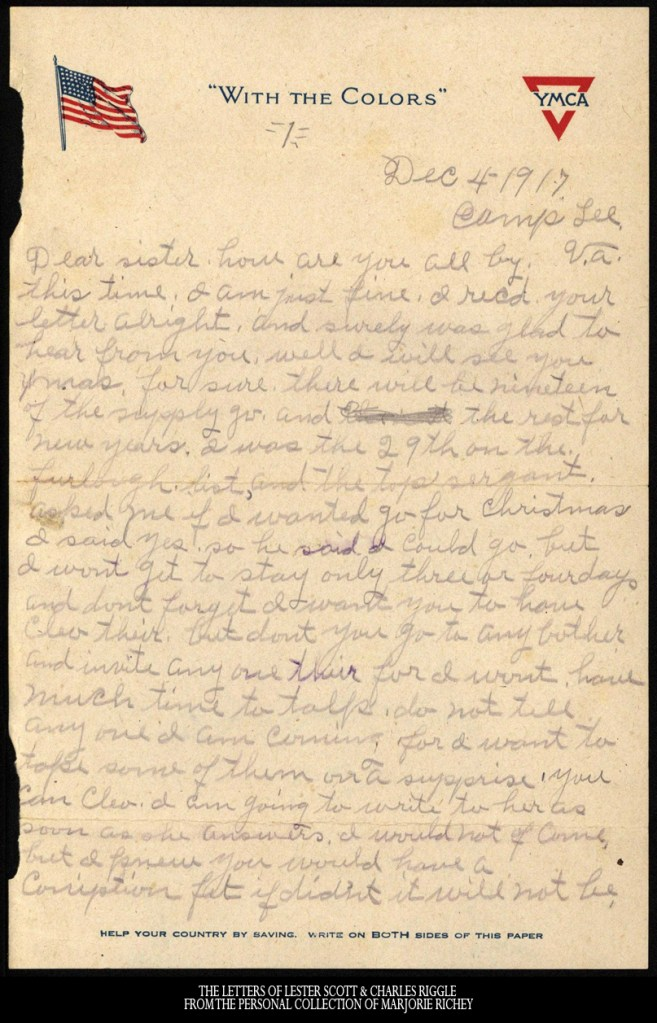 December 4, 1917: From Camp Lee to the Great War: The Letters of Lester Scott and Charles Riggle - From the personal collection of Marjorie Richey