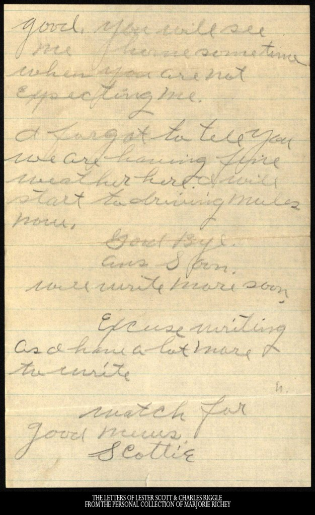 Letter to Minnie Riggle from Lester Scott, February 11, 1918.