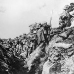 Canadian Soldiers Going into Action From Trench
