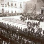 milicias falangistas en la plaza de San Juan Badajoz