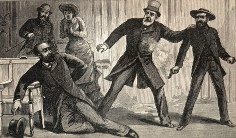 Litografía del asesinato del presidente Garfield