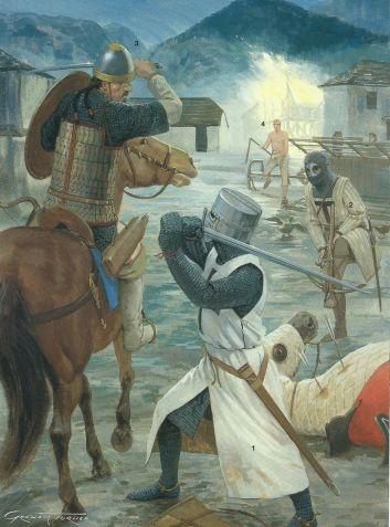 Caballeros teutónicos defendiendo a unos colonos en Cumania