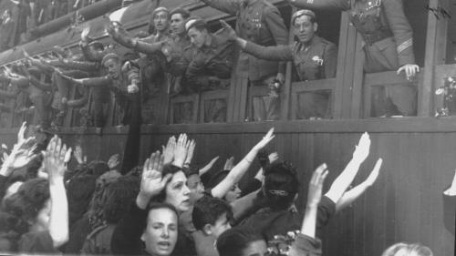 Despedida de la División Azul en la estación del norte en Madrid