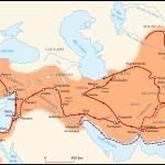 Mapa del imperio Aqueménida en la ruta de Alejandri