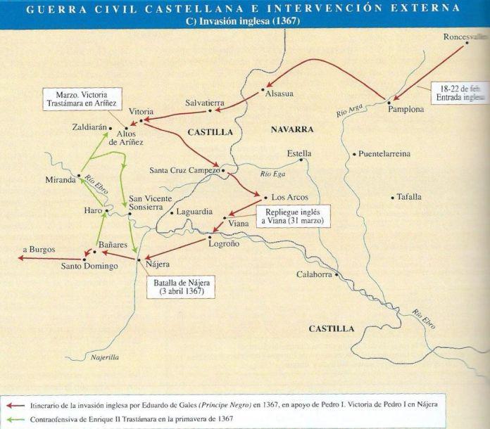 Movimientos de los ejércitos de Enrique y Pedro previos a la batalla de Nájera.