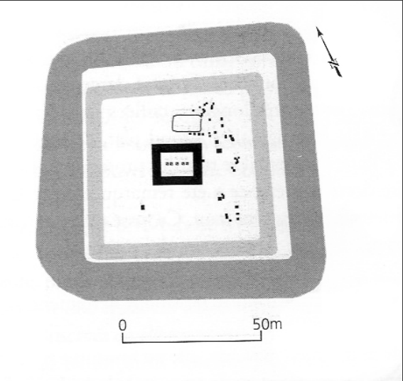 Fig. 4. Planta de la torre fortificada de Braives. Fuente: TURK, Sofía: The defensive system of the late Roman limes between Germania Secunda and Britannia, tesi di Laurea, Università Ca´Foscari Venezia, 2012, p. 47.