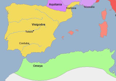 Mapa de la Península Ibérica entre los años 710-711