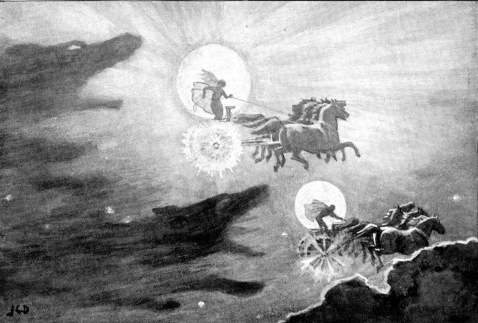 The Wolves Pursuing Sol and Mani (1909) John Charles Dollman