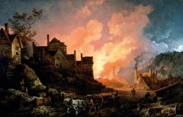 Coalbrookdale por la noche (1801). Loutherbourg. Localidad inglesa con hornos de madera y una incipiente industria.