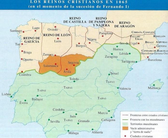 Mapa político de la Península Ibérica en 1065