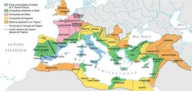 Mapa de la extensión del imperio romano dividido según sus fases de expansión.