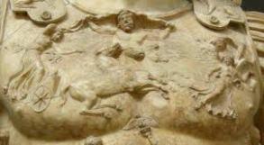 """Detalle de la coraza del """"Augusto Prima Porta"""". Siglo I. Museos Vaticanos."""