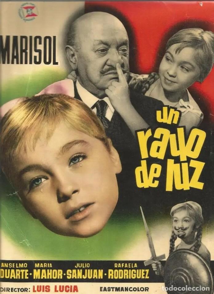 Cartel promocional del primer éxito cinematográfico de Marisol, Un rayo de luz