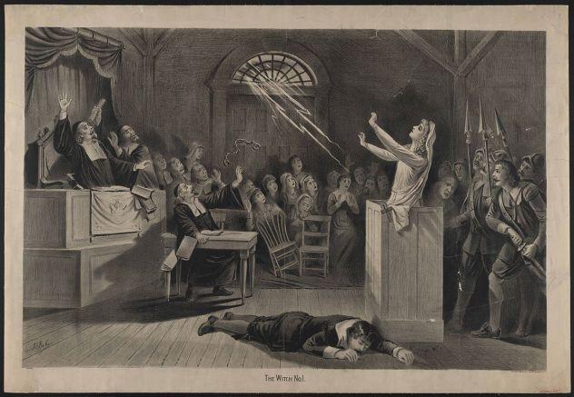"""La bruja no. 1, litografía (Joseph E. Baker, 1893). En esta imagen podemos ver uno de los supuestos """"milagros"""" o acontecimientos sobrenaturales desarrollados por las niñas malditas: un rayo de luz entra por un pequeño ventanal que queda por encima de una puerta a la vez que la chica levanta los brazos."""