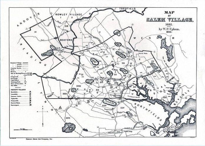 Mapa de la ciudad de Salem durante los juicios (W. P. Upham, 1866). En el aparecen señalados algunos de los lugares más importantes durante el juicio, ayudándonos a hacernos una idea generalizada del tamaño de la villa y de las distancias que tendrían que recorrer los acusados desde la cárcel a sus hogares y al lugar de sus muertes.
