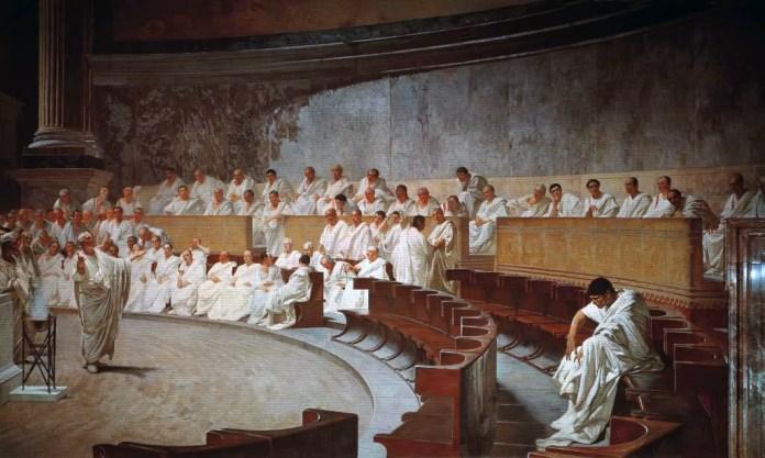 Cuadro de Maccari, 1880. Cicerón denunciando a Catilina ante el senado.