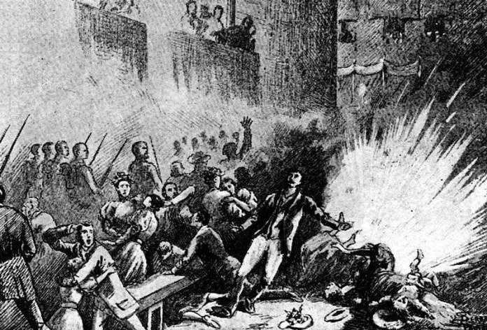 Ilustración que muestra el atentado del Corpus Christi en 1896, uno de los primeros atentados cometidos contra la jerarquía eclesiástica (Desconocido) | Wikimedia