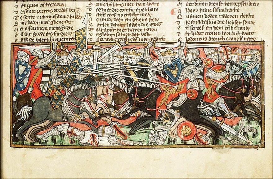 Representación de la Batalla de Vouillé (507) según una miniatura del siglo XIV. Véase el combate entre ambos monarcas (y la muerte de Alarico II) en primer plano (Biblioteca Nacional de los Países Bajos, La Haya).