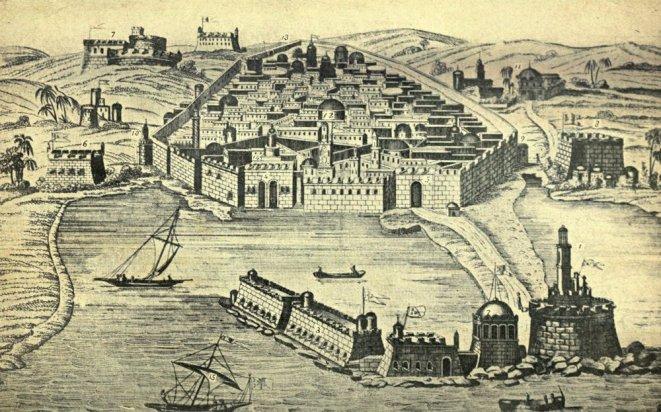 Ciudad de Argel en el s.XVI. Podemos observar sus diferentes fortificaciones junto con el peñón en primer plano, única parte de la ciudad mediante la que por un breve periodo España pudo ejercer cierto control sobre la ciudad.