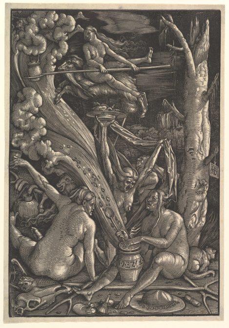 Las brujas (Hans Baldung Grien, 1510). Varias brujas realizan toda una serie de actividades que son asociadas a pactos con el demonio.