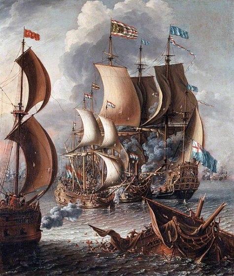 Lucha con piratas berberiscos (1681). Lorenzo A. Castro. Imagen de una batalla entre un navío británico y varios berberiscos.