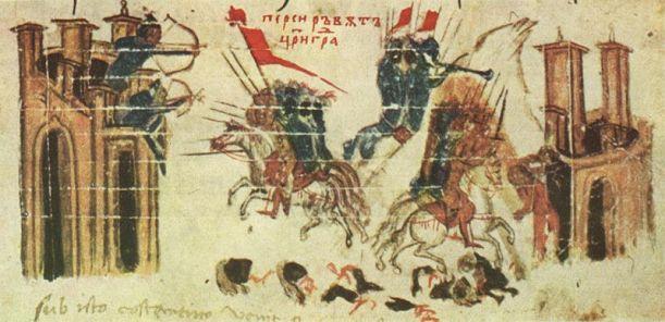 El emperador Heraclio ataca un fuerte persa mientras los persas atacan Constantinopla (Constantino Manasses, s.XIV). Imagen que representa las acciones del emperador mientras Constantinopla está en sitio, aunque realmente la participación persa fue mínima.