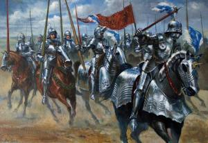 Lámina donde se muestra la caballería pesada francesa.