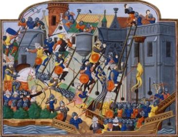 Ilustración de la caída de Constantinopla a manos del turco Mehmet II