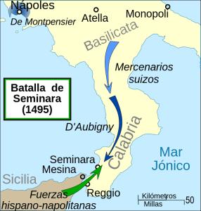 Mapa del sur peninsular italiano donde se muestran los movimientos de tropas francesas y castellano-aragonesas