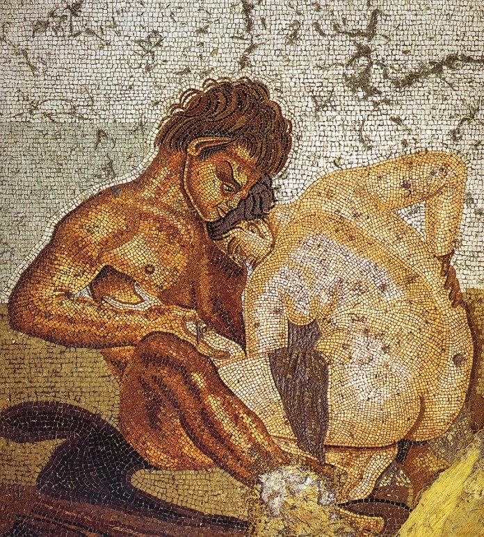 Un sátiro y una ninfa teniendo sexo en un fresco de Pompeya (S. I d.C.)