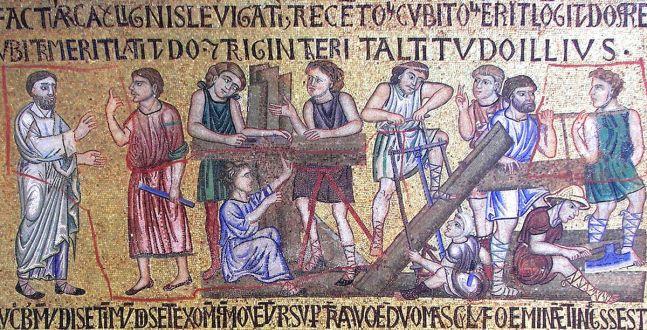 Carpinteros construyendo el Arca en un mosaico de la Basílica de San Marcos, Venecia (s.XIII)