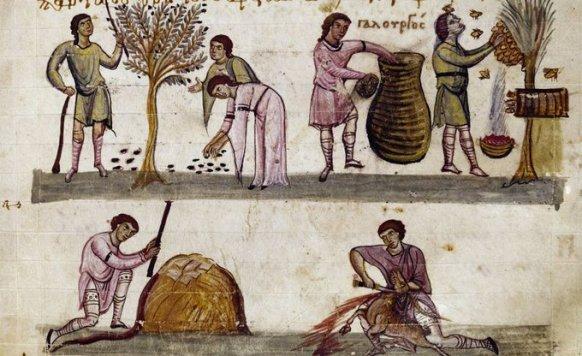 Escenas de cosecha, apicultura y caza, en un manuscrito de un texto de Opiano de Apamea (s.XI).