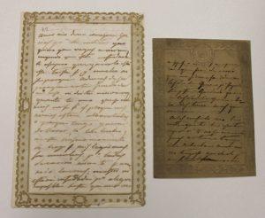 Cartas secretas de la Reina Regente María Cristina de Borbón-Dos Sicilias a su segundo marido Agustín Fernando Muñoz en papier dentelle. Archivo Regional de la Comunidad de Madrid.