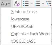 toggle case dropdown