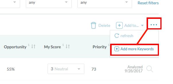 Opening Add Keywords Menu in Moz Keyword Explorer - Arc